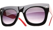 Oversized Side Screw Sunglasses - BlkRed/Black