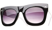 Oversized Side Screw Sunglasses - BlkWht/Black