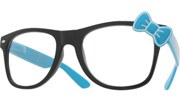 Hello Bow Colored Clear Glasses - Blue/Clear