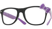 Hello Bow Colored Clear Glasses - Purple/Clear