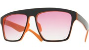 Squared Black Tone Sunglasses - Orange/Smoke