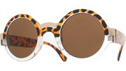 Round Gold Sunglasses - TortClr/Brown