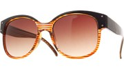 Double Side Bolted Sunglasses - BrnStrp/Brown