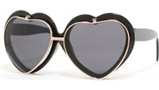 Flip Up Heart Sunglasses - Black/Black