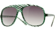 Clear Striped Aviators - Green/Smoke