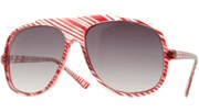 Clear Striped Aviators - Red/Smoke