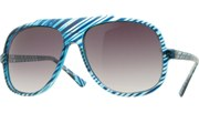 Clear Striped Aviators - Blue/Smoke
