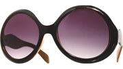 Rounded Wave Arm Sunglasses - BrnBlk/Brown