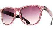 Geo Check Print Sunglasses - Pnk/Wht/Gry