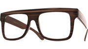 Large Squared Block Glasses - Wood/Gry/Blk