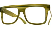 Large Squared Block Glasses - Wood/Grn