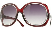 Round Floating Lens Sunglasses - Red/Smoke