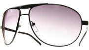 Spring Hinged Metal Aviators - Black/Smoke