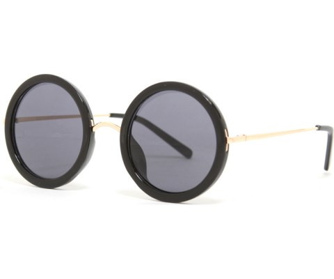 0bfddbe91 Round Hipster Gold Sunglasses in Black frames with a lens color in ...
